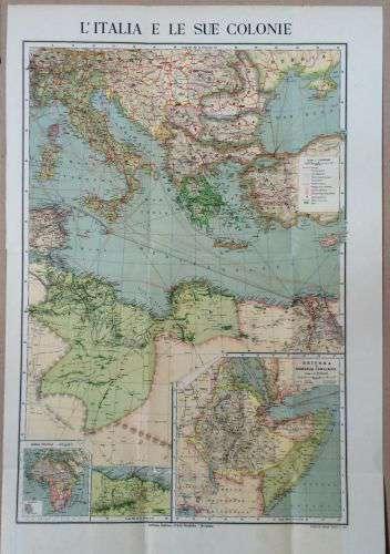 L Italia Cartina.Cartina Geografica L Italia E Le Sue Colonie 1912