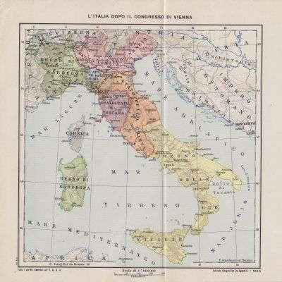 L Italia Cartina.Cartina Geografica L Italia Dopo Il Congresso Di Vienna 1921