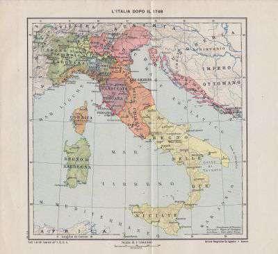 L Italia Cartina.Cartina Geografica L Italia Dopo Il 1748 Anno 1921