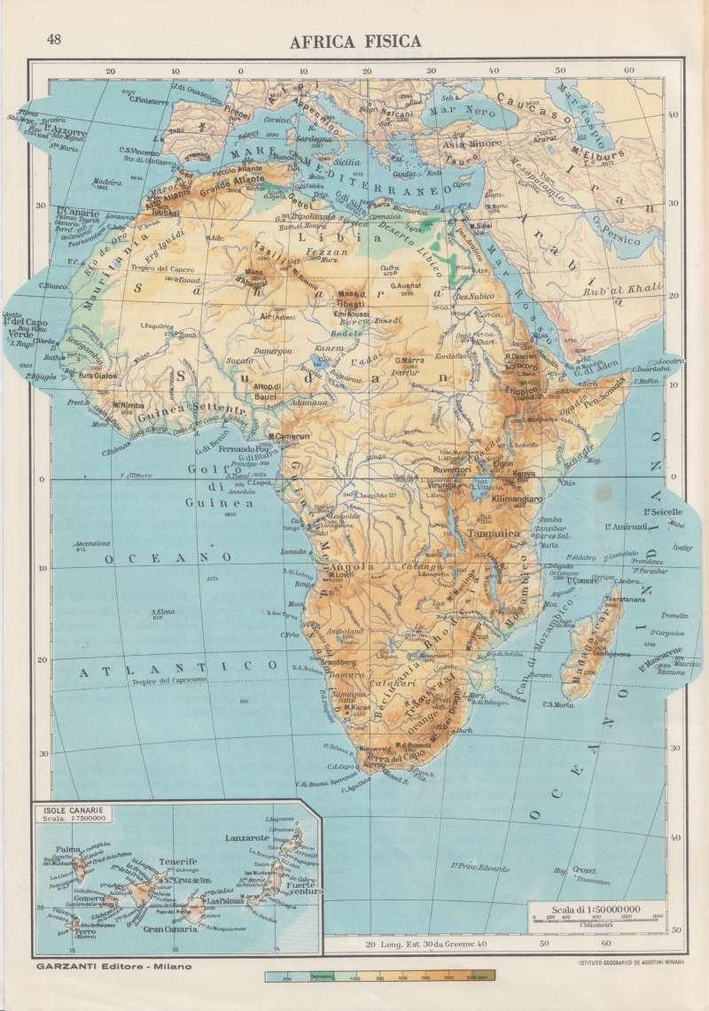 Cartina Dell Africa Fisica E Politica.Cartina Geografica Africa Fisica Anno 1954