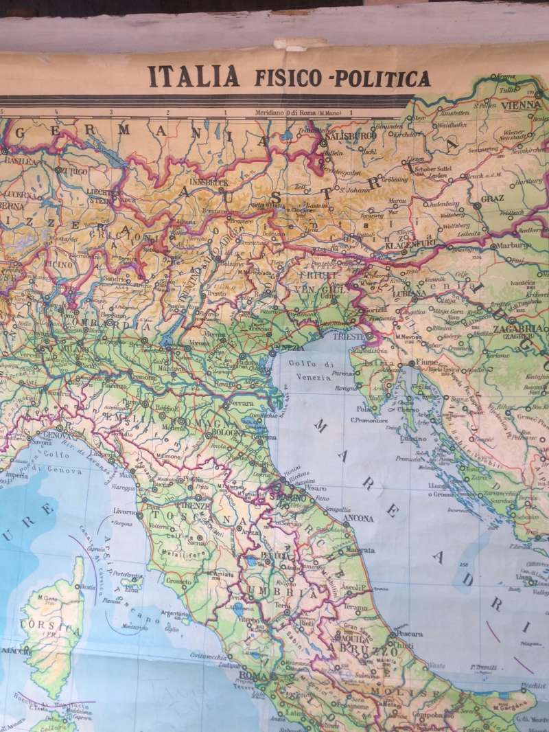 Cartina Geo Politica Italia.Cartina Geografica Italia Fisico Politica 1962